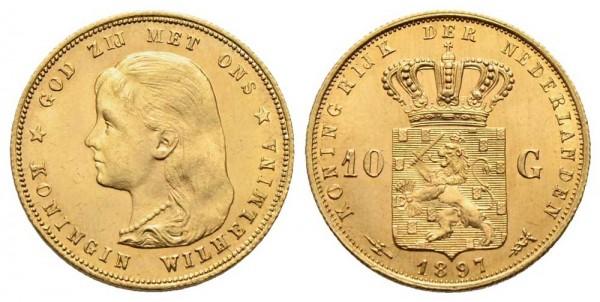Goldmünze-Niederlande-Wilhelmina-10-Gulden-VIA11042