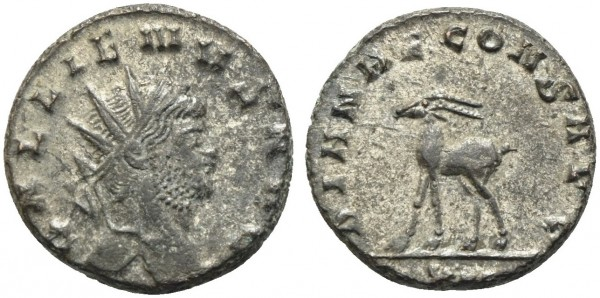 Römische-Münze-Antike-Gallienus-Gazelle-VIA10921