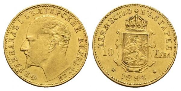 Bulgarien - Ferdinand I. 1887-1918 10 Lewa 1894 KB, Kremnitz Fr: 4 Fast vorzüglich