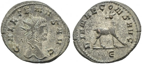 Römische-Münze-Antike-Gallienus-Reh-VIA10920
