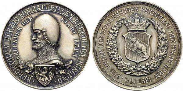 Schweiz - Bern Silbermedaille 1891. von Ch. Bühler/ F. Hornberg, auf die 700. Jahrfeier der Stadtgründung. SM: 587 Herrliche Patina, stempelfrisch