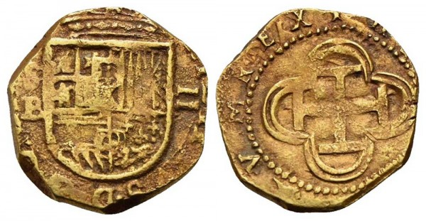 Goldmünze-Spanien-Philip-III-VIA10657
