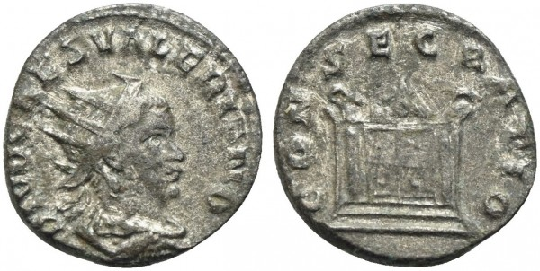 Römische-Münze-Antike-Valerianus-II-Consecratio-VIA10923