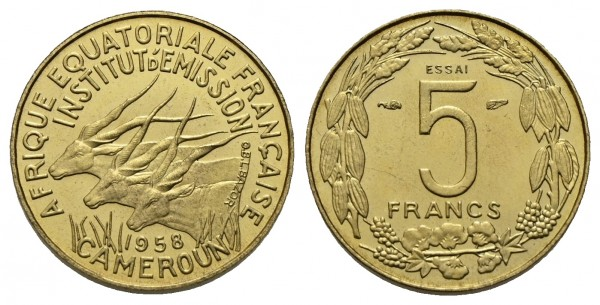 Kamerun - Probe-5 Francs 1958, Paris